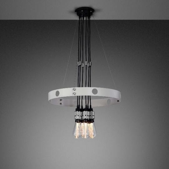 A light fixture from a ceiling Description automatically generated with low confidence